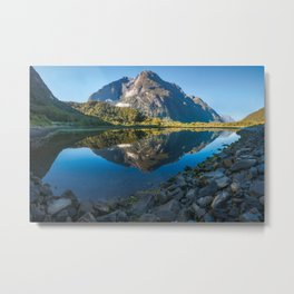 Mountain Reflection in the Bay at Milford Sound Metal Print