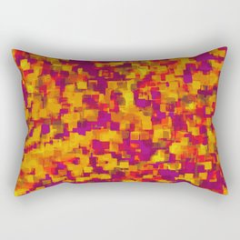 red orange and purple square pattern drawing and painting background Rectangular Pillow