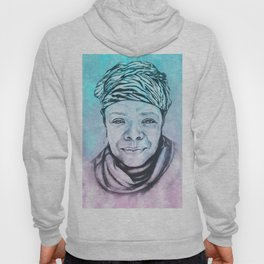 Maya Angelou Portrait on Blue and Pink Hoody