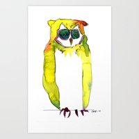 Art Print featuring Hoot by Tessa Heck