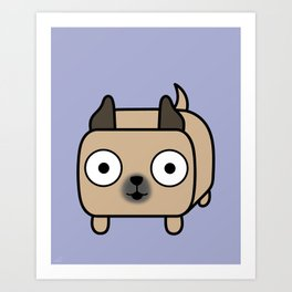 Pitbull Loaf - Fawn Pit Bull with Cropped Ears Art Print