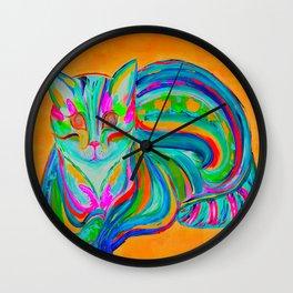 Hypnotic Rainbow Cat - Orange Background Wall Clock