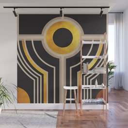 Art Deco Watching You In Black And Gold Wall Mural