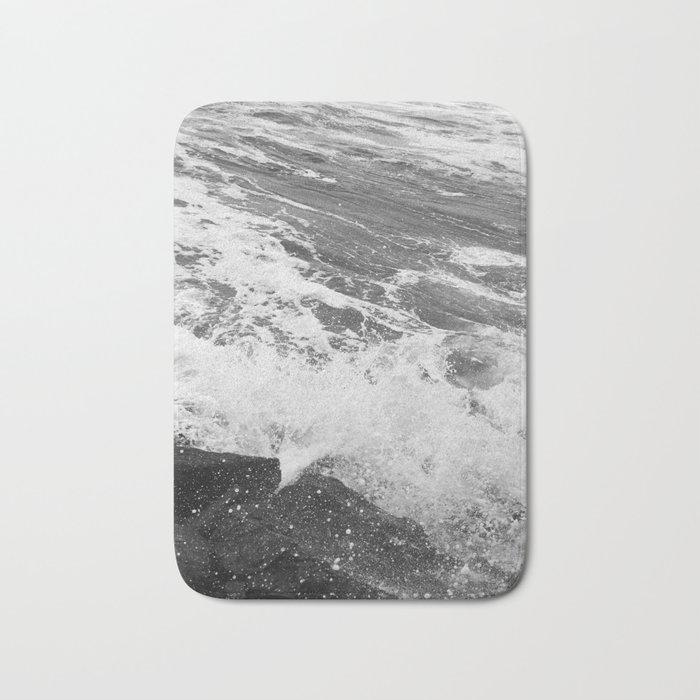 SEA on Black and White Bath Mat