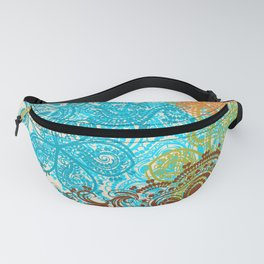 Indian boho pattern with ornament in blue, ornage and green Fanny Pack