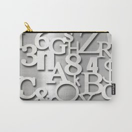 Silver Metallic Letters Numbers & Symbols Typography Carry-All Pouch