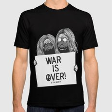 War is over Pugs Black MEDIUM Mens Fitted Tee
