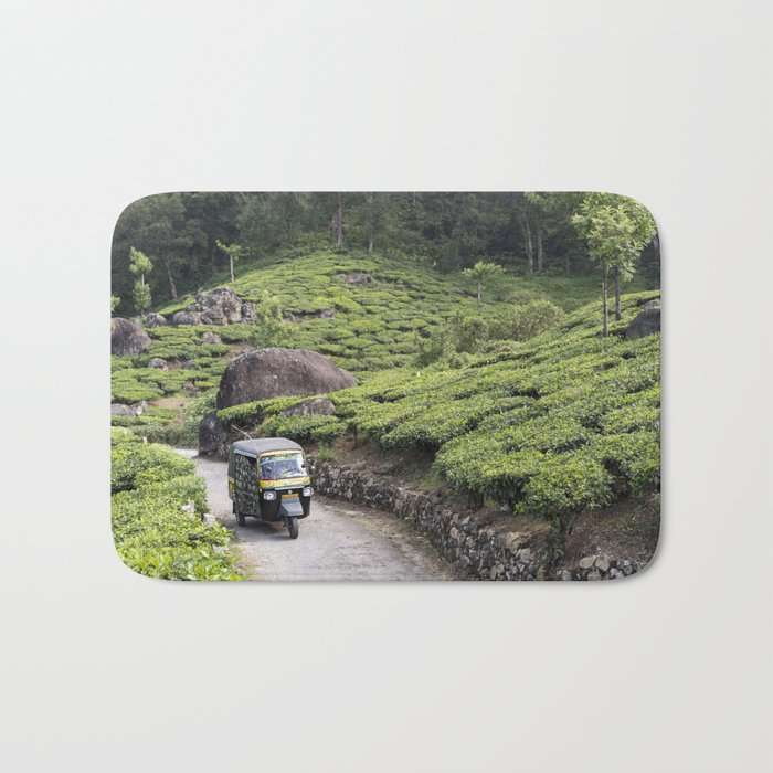 Autorickshaw in tea plantation, Kerala Bath Mat