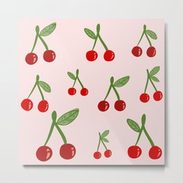 Cute Cherry Pattern Metal Print