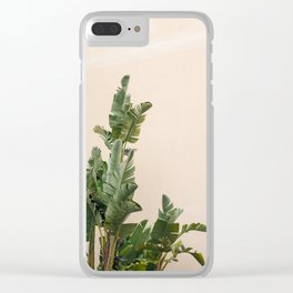 Tropical palms on pastel | Lush greenery in the South of France | Botanical art print Clear iPhone Case