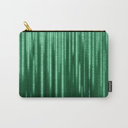 Green Binary Rain Carry-All Pouch