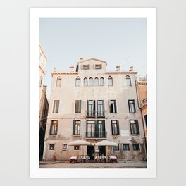 Pastel Pink Venice Building Front | Italy Travel Photography, Iconic travel Saige Ashton Prints Art Print