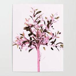 Little olive tree with pink tones on a white background Poster