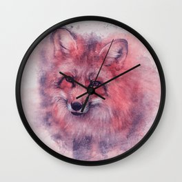 Red fox art Wall Clock