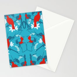 NZ Native Red Kereru (Wood Pigeon) and Fantail on Blue Stationery Cards