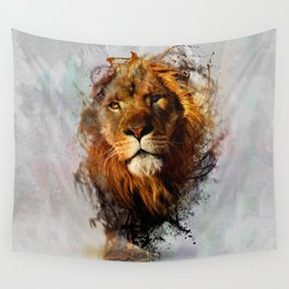 Water Color Splash Lion Wall Tapestry