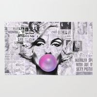 popart Area & Throw Rugs featuring Marilyn Newspaper Headlines PopArt by cvrcak