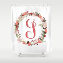 Personal monogram letter 'J' flower wreath Shower Curtain