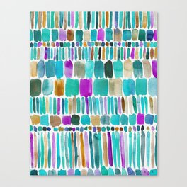 DASHED Colorful Tribal Watercolor Canvas Print