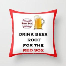 Red Sox Team Baseball Fans Beer Throw Pillow