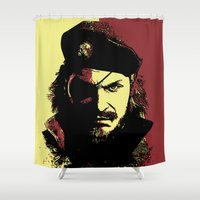 metal gear solid Shower Curtains featuring Big Boss (naked snake from metal gear solid) by TxzDesign
