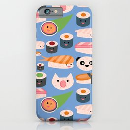 Kawaii sushi blue iPhone Case