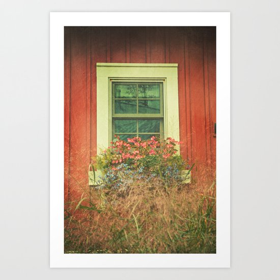 White Window on Red House Art Print