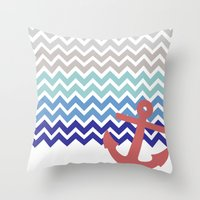nautical Throw Pillows featuring Nautical  by emain