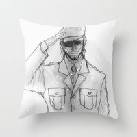 "metal gear solid Throw Pillows featuring Metal gear Solid ""Big Boss"" by Psychohpeliac"