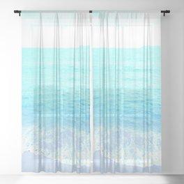 Emerald Blue wave Summer Sea Beach Sheer Curtain