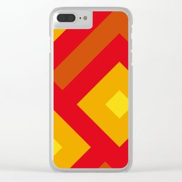 Concentric Squares in shades of Red and yellow and orange. Clear iPhone Case