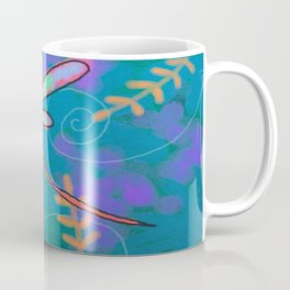 Funky Dragonfly Abstract Digital Painting Coffee Mug