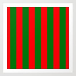 Wide Red and Green Christmas Cabana Stripes Art Print