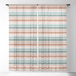 stripes - terra cotta and teal Sheer Curtain