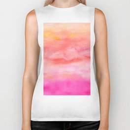 Bright pink orange sunset watercolor hand painted Biker Tank