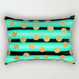 NL 9 9 Turquoise Gold & Black Rectangular Pillow