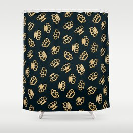 Brass Knuckles With Good Thoughts Shower Curtain