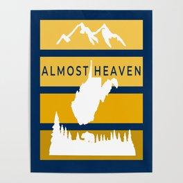 Almost Heaven West Virginia Retro Nature Print Poster