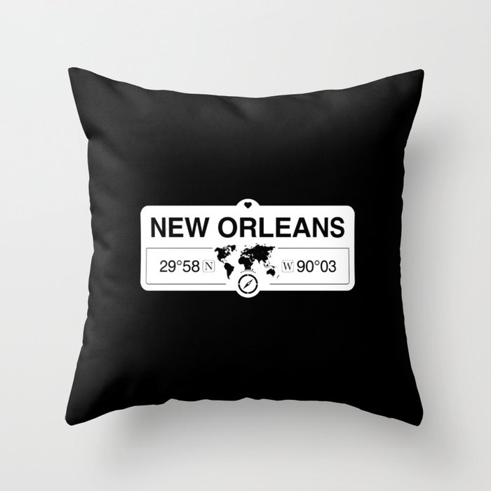 New OrleansLouisiana Map GPS Coordinates Artwork Throw Pillow