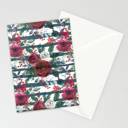Festive Red Floral Arrangement on White with Green Stripes  Stationery Cards