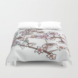 Watercolor pink flowers Duvet Cover