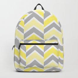 Yellow Gray Chevron Tile Backpack