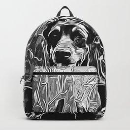 doberman dog red flowers meadow vector art black white Backpack