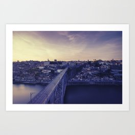 Porto across the bridge. Art Print
