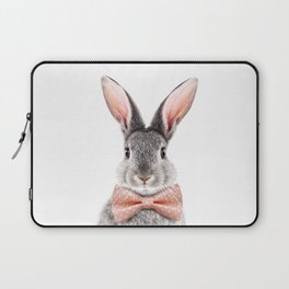 Baby Rabbit, Grey Bunny With Bow Tie, Baby Animals Art Print By Synplus Laptop Sleeve