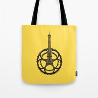 tour de france Tote Bags featuring Le Tour de France by Foster Type
