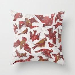 Snowy Cardinals Throw Pillow
