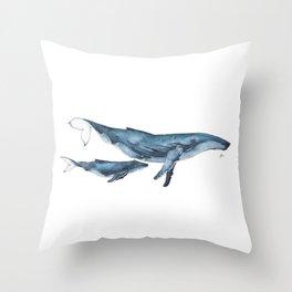 Whale & whale calf Throw Pillow
