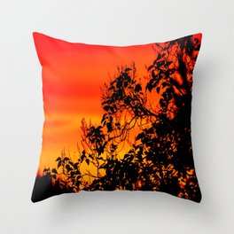 Silhouette of leaf with red autumn sky #decor #society6 Throw Pillow