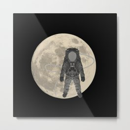 Astronaut with moon, space Metal Print